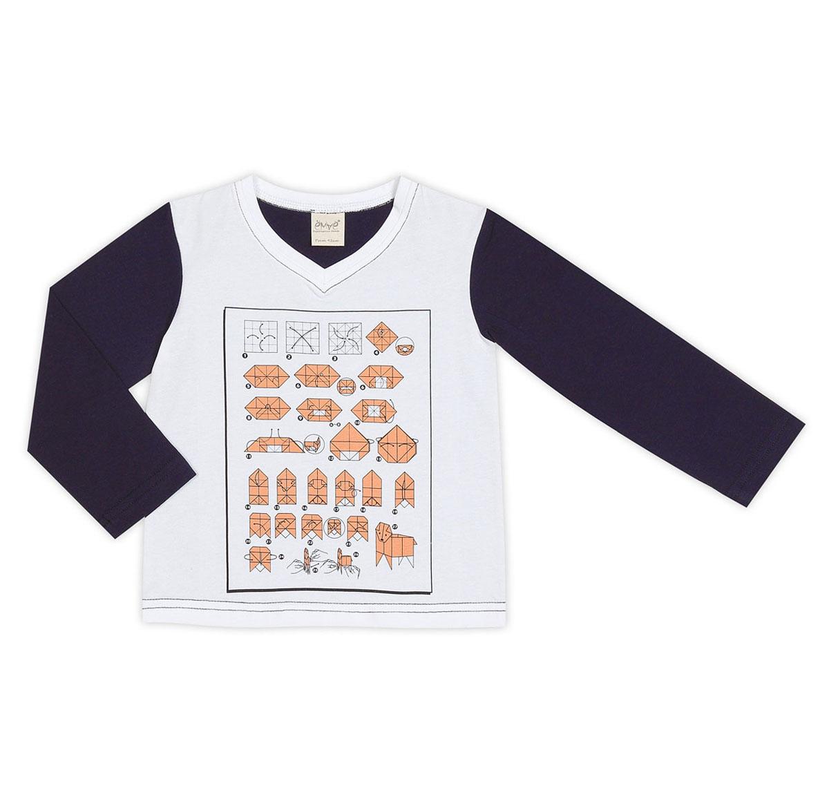 Футболка с длинным рукавом27-623Футболка с длинным рукавом для мальчика Ёмаё, выполненная из эластичного хлопка, идеально подойдёт вашему ребенку. Футболка с длинными руками и V-образным вырезом горловины оформлена спереди оригинальным схематичным принтом. Рукава и спинка выполнены в контрастном цвете. В такой футболке вашему крохе будет уютно и комфортно.