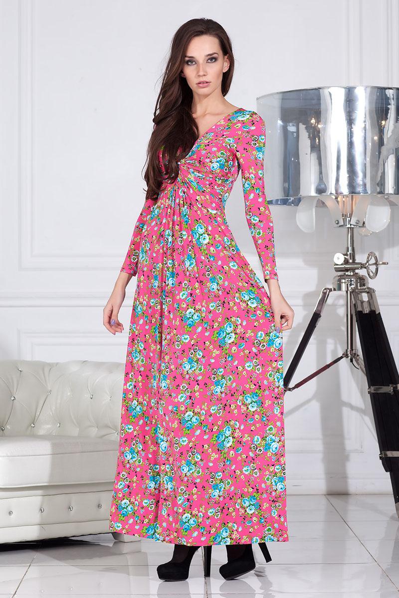 Платье100301_65Платье клешеное длиной в пол с длинным рукавом выполнено из высококачественного материала. Впереди драпировка узел.