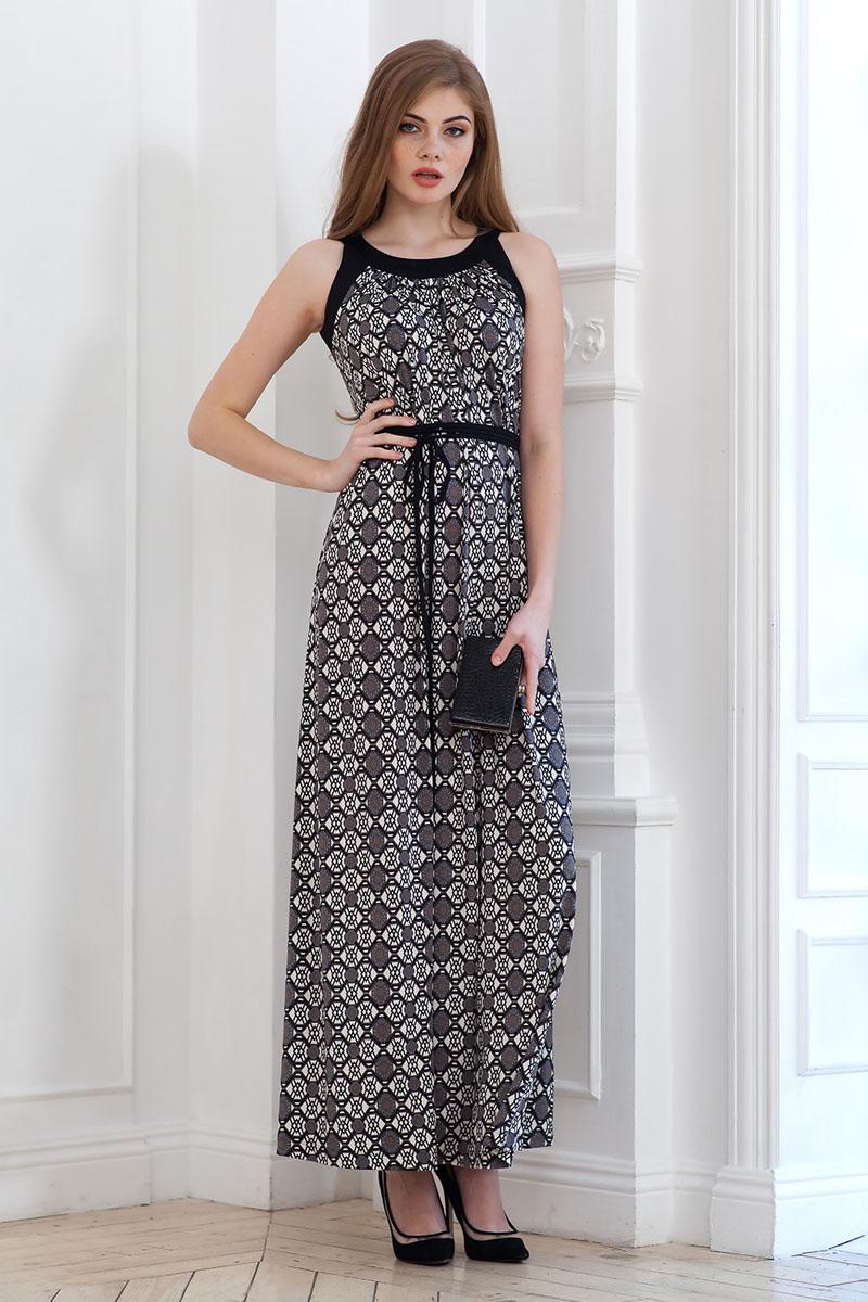 Платье107900_11Элегантное платье из струящегося принтового трикотажа длиной в пол с контрастной отделкой по горловине и проймам. На талии завязывается шнурок в несколько рядов.