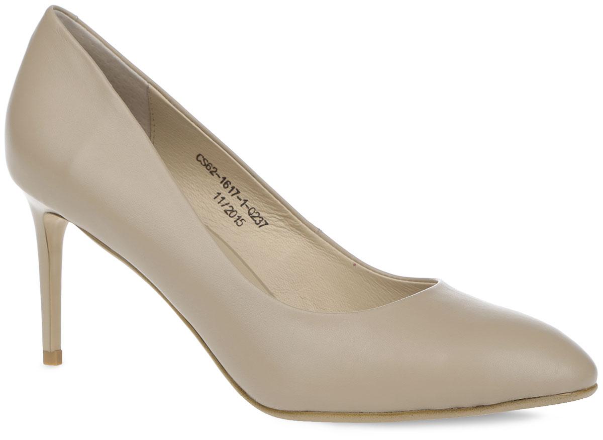 Туфли женские. CS62_1617-1-Q237_BEIGECS62_1617-1-Q237_BEIGEКлассические женские туфли от El Tempo - незаменимая вещь в гардеробе каждой модницы. Модель выполнена из натуральной кожи. Закругленный мысок и невысокий каблук-шпилька добавят женственности в ваш образ. Подкладка и стелька, выполненные из натуральной кожи, позволяют ногам дышать и обеспечивают комфорт. Подошва с рифлением обеспечивает отличное сцепление с любой поверхностью. Изысканные туфли подчеркнут ваш безупречный вкус.