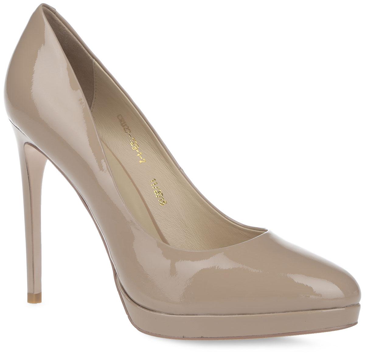 Туфли женские. CRH22_129-1-2_BEIGECRH22_129-1-2_BEIGEКлассические женские туфли от El Tempo - незаменимая вещь в гардеробе каждой модницы. Модель выполнена из натуральной лакированной кожи. Закругленный мысок и высокий каблук-шпилька добавят женственности в ваш образ. Подкладка и стелька, выполненные из натуральной кожи, позволяют ногам дышать и обеспечивают комфорт. Каблук компенсирован платформой. Подошва с рифлением обеспечивает отличное сцепление с любой поверхностью. Изысканные туфли добавят шика в модный образ и подчеркнут ваш безупречный вкус.