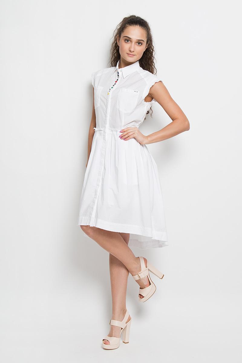 Платье00SNEU-0LAKT/100Платье Diesel поможет создать яркий и стильный образ. Платье на подкладке изготовлено из натурального хлопка, очень мягкое, тактильно приятное, позволяет коже дышать. Модель с отложным воротником застегивается спереди на пуговицы по всей длине, скрытые за планкой. По проймам и по низу платье дополнено двойной окантовкой с необработанными краями. От линии талии заложены складки, придающие изделию пышность. Спереди расположены два накладных кармана, по бокам - два прорезных кармана. Спинка модели удлинена. Платье декорировано разными по форме и цвету пуговками, а также небольшой металлической пластиной с названием бренда. Такое платье займет достойное место в вашем гардеробе, а также подарит вам комфорт в течение всего дня.