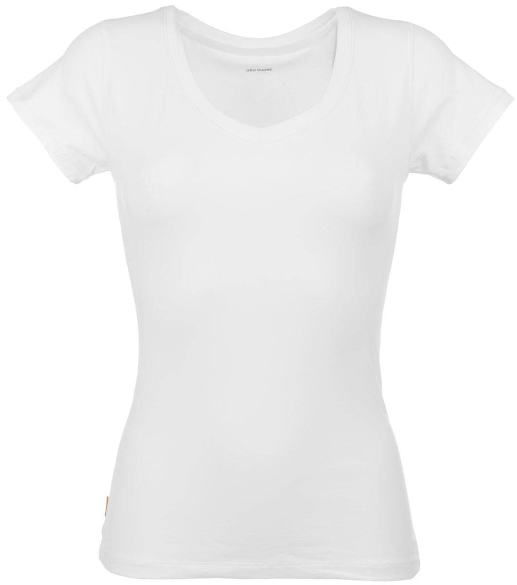 Футболка женская Liscio. 70477047Женская футболка Alla Buone Liscio, выполненная из эластичного хлопка, идеально подойдет для повседневной носки. Материал изделия мягкий, тактильно приятный, не сковывает движения и позволяет коже дышать. Футболка с V-образным вырезом горловины и короткими рукавами имеет слегка приталенный силуэт. Вырез горловины оформлен мягкой окантовочной лентой. Изделие дополнено фирменным логотипом, вшитым в боковой шов. Такая модель будет дарить вам комфорт в течение всего дня и станет отличным дополнением к вашему гардеробу.