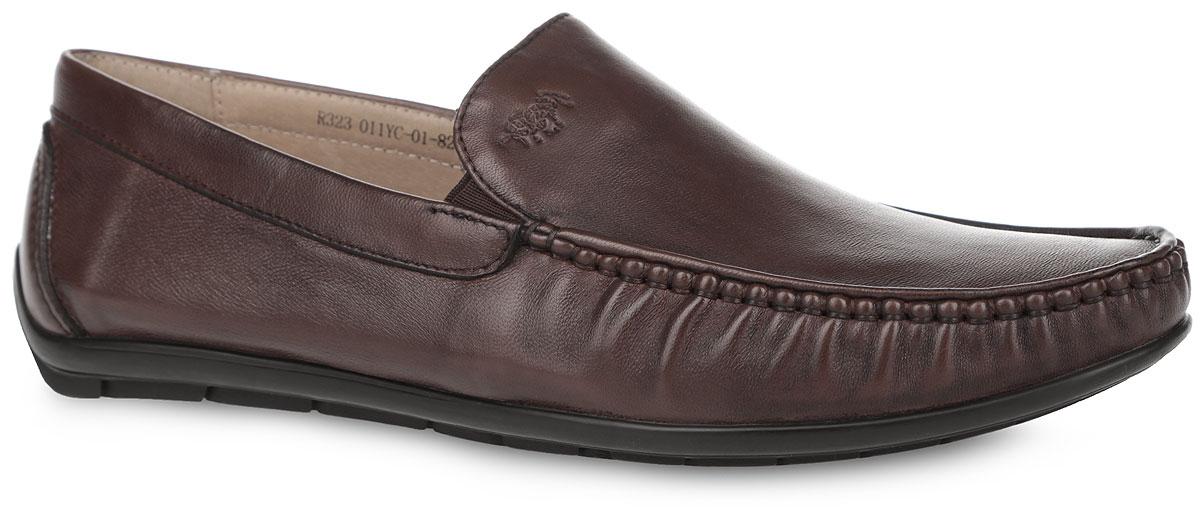 Мокасины мужские. R323_011YC-01-82_BROWNR323_011YC-01-82_BROWNОригинальные мужские мокасины от El Tempo заинтересуют вас своим дизайном. Модель выполнена из высококачественной натуральной кожи. Задник и мыс изделия оформлены внешним швом, область подъема - фирменным тиснением и эластичными вставками для лучшего прилегания обуви к ноге. Кожаная подкладка предотвратит натирание. Мягкая стелька из ЭВА материала с верхним покрытием из натуральной кожи позволяет вашим ногам дышать. Рифленая подошва обеспечивает идеальное сцепление с любой поверхностью. Удобные мокасины отлично подойдут для прогулок или дальних поездок.