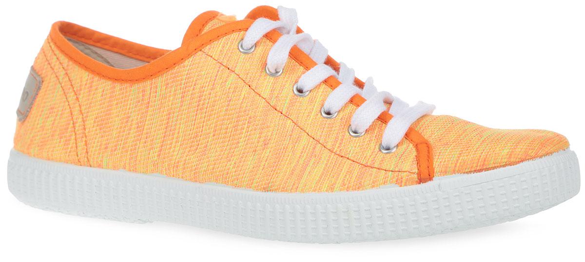 ENF3_110-07_ORANGEЯркие стильные кеды от El Tempo очаруют вас с первого взгляда. Модель выполнена из текстиля и дополнена на заднике кожаной нашивкой с названием бренда. Классическая шнуровка надежно зафиксирует обувь на ноге. Подкладка и стелька, изготовленные из текстиля, предотвратят натирание и обеспечат уют. Подошва с рифлением обеспечивает идеальное сцепление с разными поверхностями. Эффектные кеды позволят вам выделиться среди окружающих!