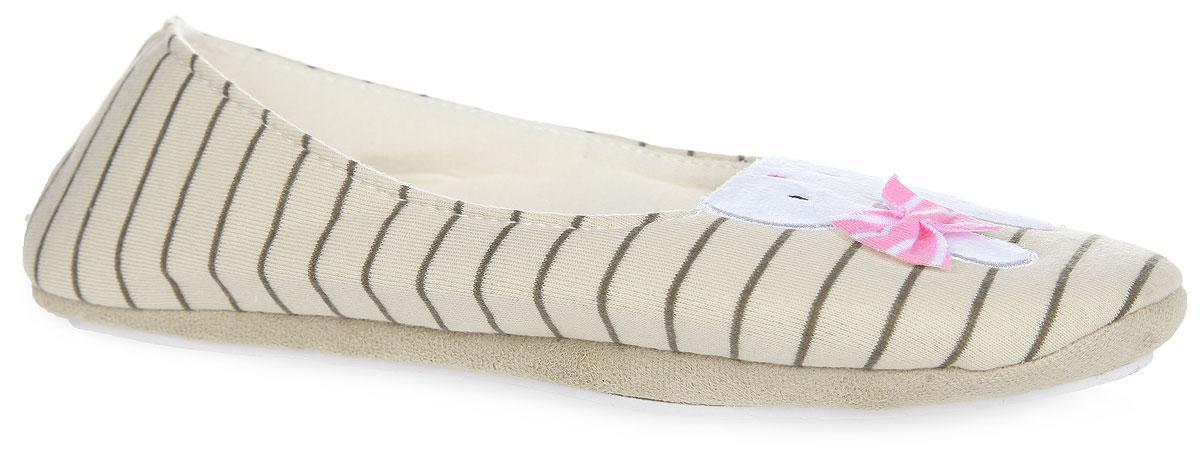 KW036-000073Чудесные женские тапочки от Kawaii Factory Bunny, стилизованные под балетки, придутся вам по душе. Верх модели выполнен из хлопка и оформлен принтом в виде полос. Рант дополнен текстильной вставкой с бархатистой поверхностью. Мыс украшен милым зайчиком Bunny и бантиком. Текстильная подкладка и стелька из ЭВА материла с верхним покрытием из текстиля обеспечат комфорт и уют ногам. Рельефное основание подошвы из резины обеспечивает уверенное сцепление с любой поверхностью. Такие тапочки помогут отдохнуть вашим ножкам после трудового дня.