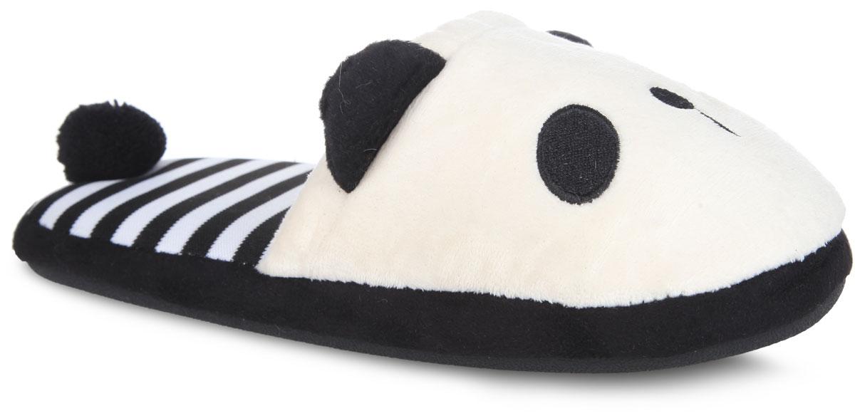 Тапки женские Полосатая панда. KW036-000104KW036-000104Потрясающие тапочки от Kawaii Factory Полосатая панда покорят вас с первого взгляда. Верх модели выполнена из плотного текстильного материала и оформлен вышивкой в виде мордочки панды и декоративными ушками. Стелька из ЭВА материала с текстильным верхним покрытием дополнена принтом в виде контрастных полос и декоративным хвостиком панды. Рельефное основание подошвы из резины обеспечивает уверенное сцепление с любой поверхностью. Такие тапочки помогут отдохнуть вашим ножкам после трудового дня.
