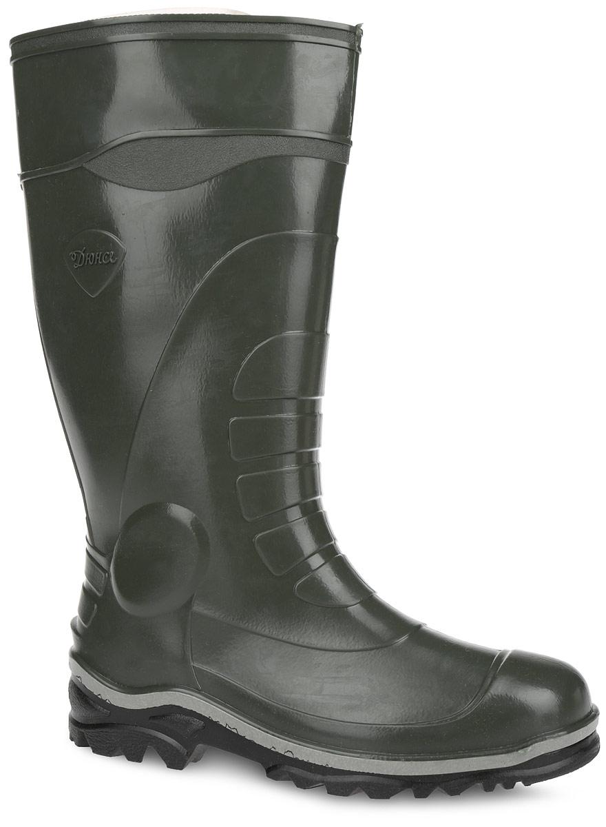 Сапоги резиновые мужские. 172У(НТП)172У(НТП)Практичные сапоги от Дюна превосходно защитят ваши ноги от промокания в дождливый день. Модель полностью выполнена из ПВХ, обладающего высокой эластичностью, 100% водонепроницаемостью, амортизационными свойствами и герметичностью. Тканевая основа внутри сапог сохраняет форму и предотвращает деформацию голенища. Мягкий вынимающийся сапожок из текстильного материала не даст ногам замерзнуть и обеспечит комфорт. Ширина голенища компенсирует отсутствие застежек. Сбоку изделие оформлено фирменным тиснением. Верхняя часть подошвы оформлена контрастной полоской. Рельефная поверхность подошвы гарантирует отличное сцепление с любой поверхностью. Такие резиновые сапоги придутся вам душе.