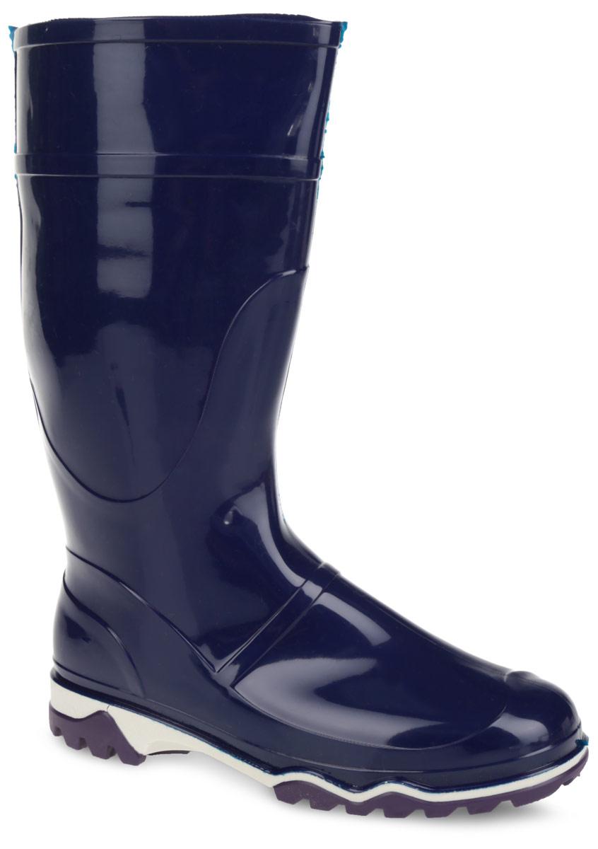 Сапоги резиновые женские. 370У(НТП)370У(НТП)Практичные сапоги от Дюна превосходно защитят ваши ноги от промокания в дождливый день. Модель полностью выполнена из ПВХ, обладающего высокой эластичностью, 100% водонепроницаемостью, амортизационными свойствами и герметичностью. Тканевая основа внутри полусапог сохраняет форму и предотвращает деформацию голенища. Мягкий вынимающийся сапожок из текстильного материала не даст ногам замерзнуть и обеспечит комфорт. Ширина голенища компенсирует отсутствие застежек. Верхняя часть подошвы оформлена контрастной полоской. Рельефная поверхность подошвы гарантирует отличное сцепление с любой поверхностью. Такие резиновые сапоги придутся вам душе.