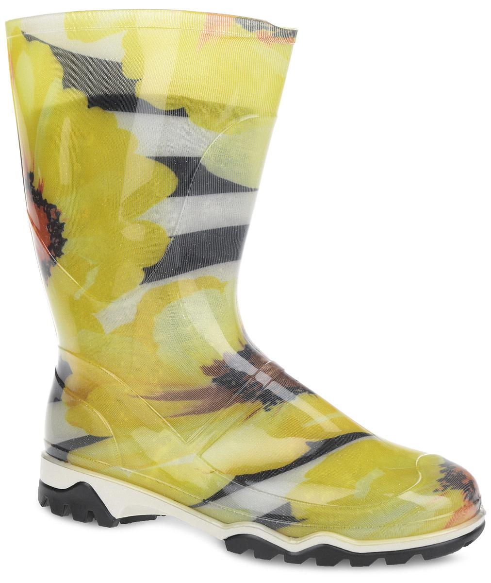 Полусапоги резиновые женские. 340РУ(НТП)340РУ(НТП)Стильные полусапоги от Дюна превосходно защитят ваши ноги от промокания в дождливый день. Модель полностью выполнена из ПВХ, обладающего высокой эластичностью, 100% водонепроницаемостью, амортизационными свойствами и герметичностью, и оформлена ярким цветочным принтом. Тканевая основа внутри полусапог сохраняет форму и предотвращает деформацию голенища. Мягкий вынимающийся сапожок из текстильного материала не даст ногам замерзнуть и обеспечит комфорт. Ширина голенища компенсирует отсутствие застежек. Верхняя часть подошвы оформлена контрастной полоской. Рельефная поверхность подошвы гарантирует отличное сцепление с любой поверхностью. Такие резиновые полусапоги поднимут вам настроение в дождливую погоду!