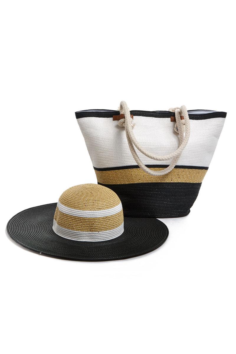 Комплект женский: сумка, шляпа. 15B01515B015Оригинальный пляжный комплект Moltini, состоящий из сумки и шляпы, выполнен из плотного текстиля бумаги. Комплект выполнен в едином стиле, оформлен контрастными оттенками и дополнен пайетками. Сумка состоит из одного вместительного отделения и закрывается на магнитную кнопку. Внутри размещены два накладных кармана для телефона и мелочей, а также врезной карман на застежке-молнии. Оригинальный дизайн ручек и натуральные материалы делают эту сумку особенно удобной для ношения на плече. Шляпа надежно защитит волосы и лицо от ярких солнечных лучей. Она выполнена в едином стиле с сумкой и достойно завершит комплект. Комплект Moltini идеально подойдет для похода на пляж или для загородной поездки. Уважаемые клиенты! Обращаем ваше внимание на тот факт, что размер изделия, доступный для заказа, соответствует обхвату головы.