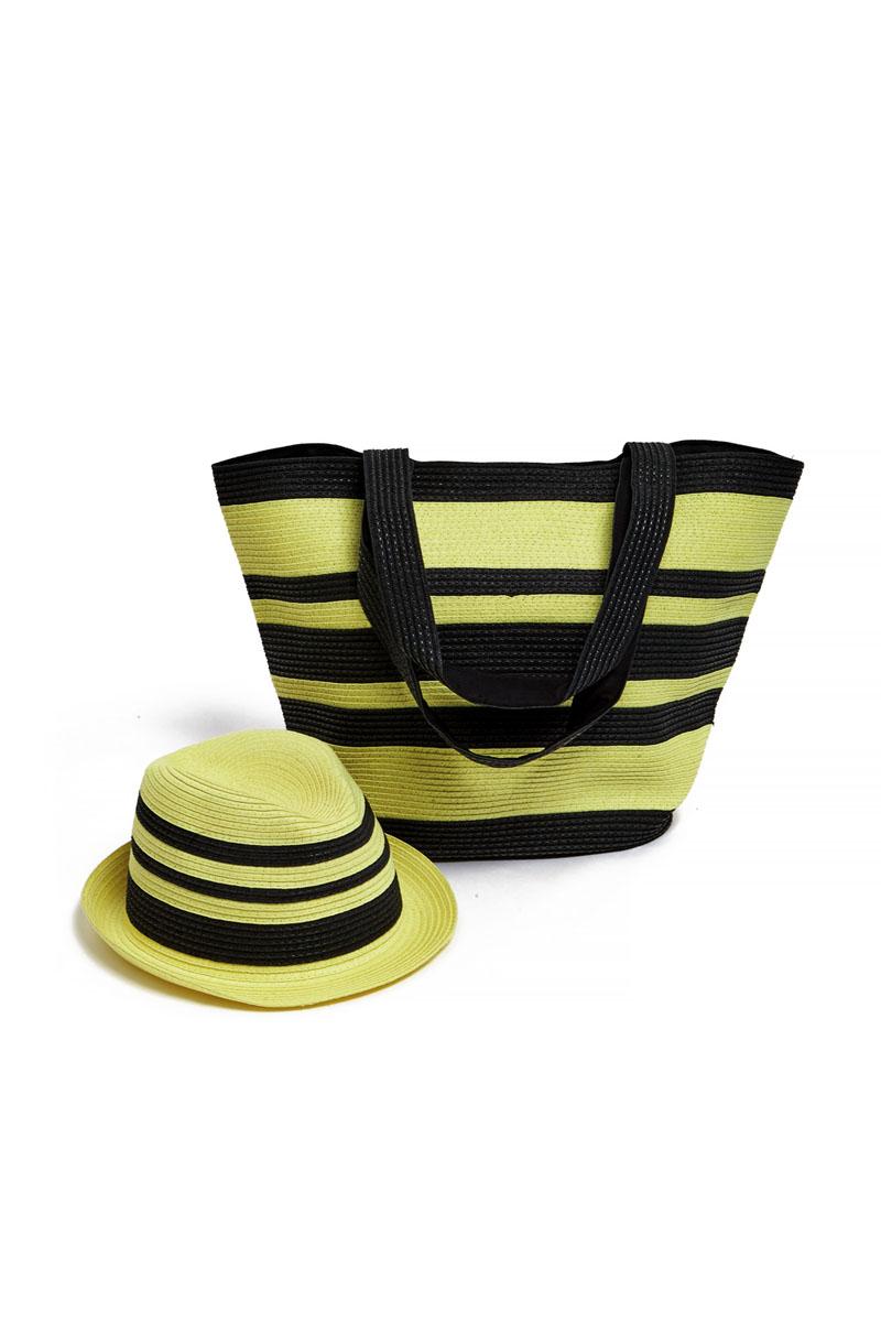 Комплект женский: сумка, шляпа. 15J01915J019Оригинальный пляжный комплект Moltini, состоящий из сумки и шляпы, изготовлен из плотного текстиля и бумаги. Комплект выполнен в едином стиле, оформлен контрастными оттенками. Сумка состоит из одного вместительного отделения и закрывается на магнитную кнопку. Внутри размещены два накладных кармана для телефона и мелочей, а также врезной карман на застежке-молнии. Практичный дизайн ручек и натуральные материалы делают эту сумку особенно удобной для ношения на плече. Шляпа надежно защитит волосы и лицо от ярких солнечных лучей. Она выполнена в едином стиле с сумкой и достойно завершит комплект. Комплект Moltini идеально подойдет для похода на пляж или для загородной поездки. Уважаемые клиенты! Обращаем ваше внимание на тот факт, что размер изделия, доступный для заказа, соответствует обхвату головы.