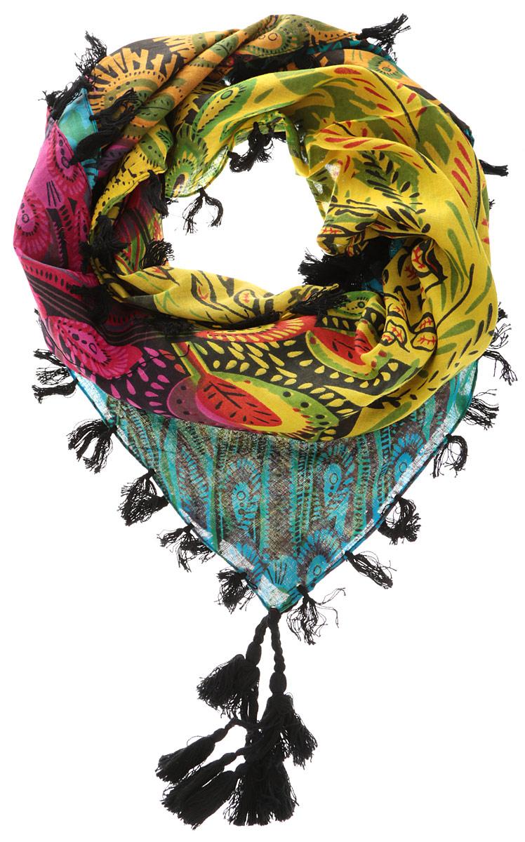 558085нЭлегантный платок от Ethnica внесет изысканные нотки в ваш образ. Модель выполнена из 100% хлопка и декорирована изумительным орнаментом. Края платка оформлены оригинальной бахромой. Этот модный аксессуар женского гардероба гармонично дополнит образ современной женщины, следящей за своим имиджем и стремящейся всегда оставаться стильной и женственной.