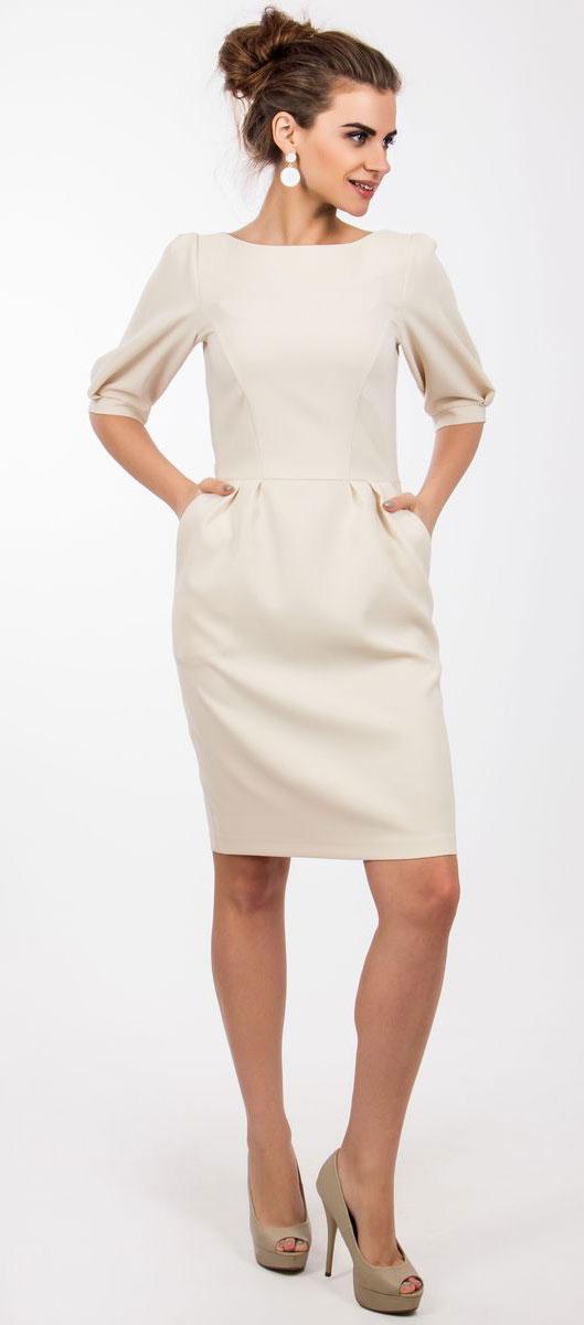 Платье4230_102Очаровательное платье Seam выполнено из полиэстера с добавлением спандекса, оно необычайно мягкое и эластичное. Платье-миди с рукавами-фонариками и горловиной-лодочкой имеет на спинке застежку- молнию. В поясе модель оформлена элегантными складочками и дополнена прорезными косыми- карманами. Платье выполнено в лаконичном стиле и дополнено декоративным ремешком.