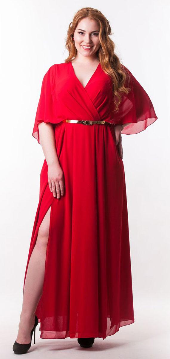 Платье4730_403Стильное платье Seam выполнено из полиэстера. Модель с глубоким V-образным вырезом горловины и рукавами-бабочками длинной до локтя. Лиф и юбка изделия дополнены мягкими складками. Спинка модели по талии присобрана на резинку. Спереди на юбке расположены разрезы. Платье-макси дополнено тонким поясом.