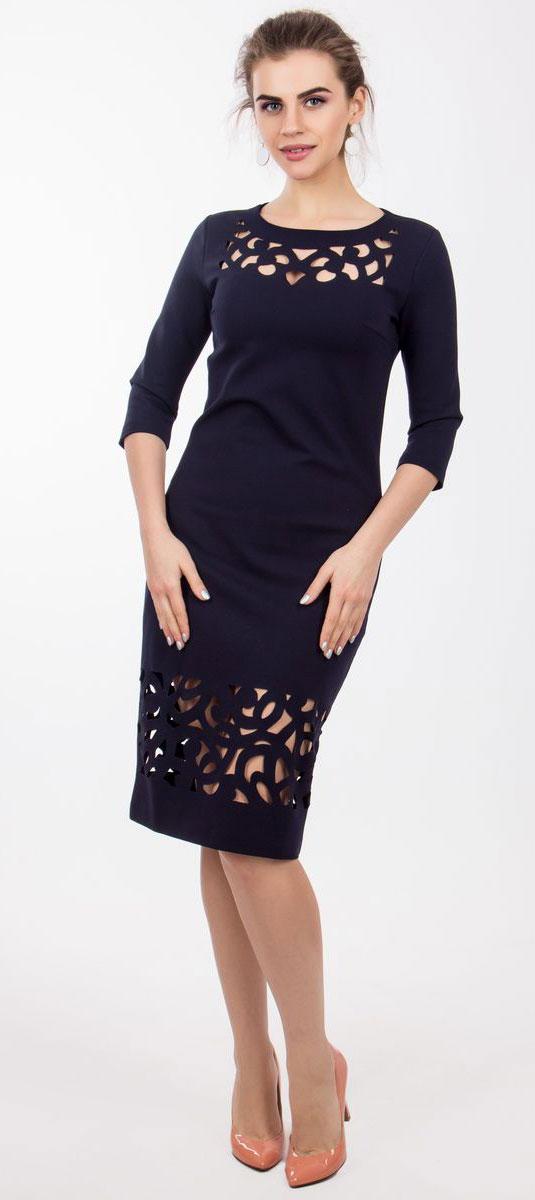 4130_707Очаровательное платье Seam выполнено из полиэстера с добавлением вискозы, оно необычайно мягкое и эластичное, дарит комфорт при носке. Платье-миди с рукавами 3/4 и круглым вырезом горловины не имеет застежек. Область груди и низ изделия оформлены оригинальными прорезными узорами, что делает платье стильным и неповторимым.