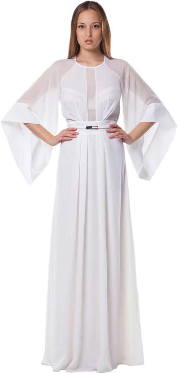 Платье4490_102Стильное платье Seam выполнено из полиэстера. Платье-макси с круглым вырезом горловины и рукавами-реглан длинной 3/4. Застегивается модель на потайную застежку-молнию расположенную в боковом шве и на небольшую навесную пуговичку по горловине. Изделие по лифу и двойной юбке оформлено мягкими складками. Линия талии сзади дополнена резинкой. К платью прилагается узкий пояс.