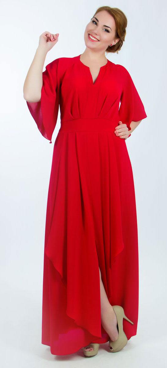 Платье4310_403Стильное платье Seam выполнено из полиэстера и по юбке дополнено тонкой подкладкой. Платье макси с круглым вырезом горловины и рукавами-реглан длиной до локтя. По переду модель оформлена мягкими складками, а по спинке дополнена сборкой на резинку по линии талии. Спереди на юбке также расположен небольшой разрез.