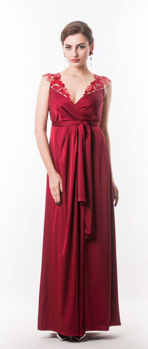 Платье4440_102Стильное платье Seam выполнено из полиэстера с добавлением спандекса. Двойное платье-макси с запахом по талии дополнено поясом которым можно завязать оригинальным бантом спереди или сзади. Лиф модели дополнен вставками из сетчатого материала и оформлен вышитыми цветами расшитыми бисером.