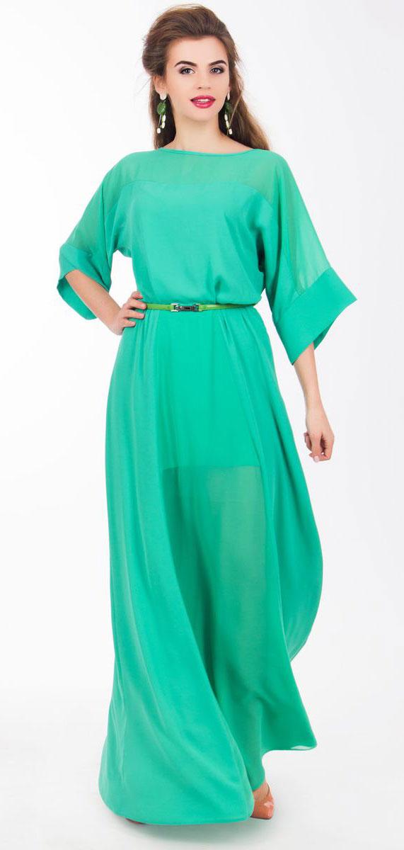 4530_102Очаровательное вечернее платье Seam, выполненное из высококачественного полиэстера, оно отлично сидит по фигуре и подчеркнет ваши достоинства. Платье-макси с цельнокроеными рукавами 1/2 и круглым вырезом горловины не имеет застежек. Верх и перед модели дополнены вставками из прозрачной ткани. В поясе модель дополнена эластичной резинкой и декоративным контрастным ремешком.