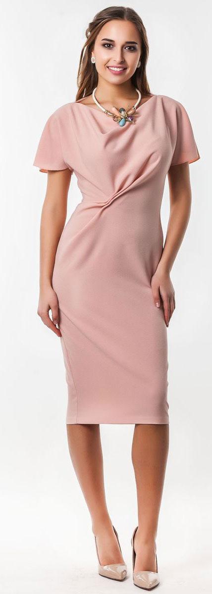 5040_303Очаровательное вечернее платье Seam, выполненное из высококачественного полиэстера с добавлением спандекса, оно отлично сидит по фигуре и подчеркнет ваши достоинства. Удлиненное платье-миди с короткими цельнокроеными рукавами и воротником-качели выполнено в лаконичном однотонном стиле. Спереди модель оформлена небольшой оригинальной сборкой ткани.