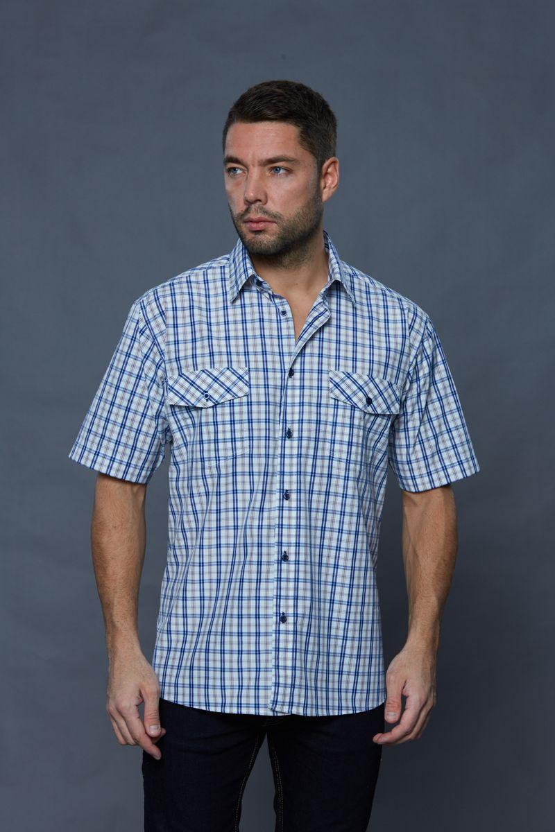JJc-k-161321-N3Стильная мужская рубашка John Jeniford, выполненная из хлопка с добавлением полиэстера. Модель с короткими рукавами и отложным воротником застегивается на пуговицы по всей длине. Изделие на груди дополнено двумя накладными карманами с клапанами на пуговице. Рубашка оформлена принтом в клетку.