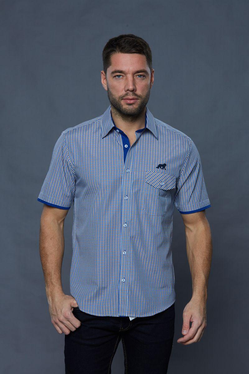 РубашкаJJcy-k-161136-SL17-U2Стильная мужская рубашка John Jeniford, выполненная из хлопка с добавлением полиэстера. Модель с короткими рукавами и отложным воротником застегивается на пуговицы по всей длине. Изделие на груди дополнено одним накладным карманом с клапаном на пуговице. Рубашка оформлена принтом в клетку.