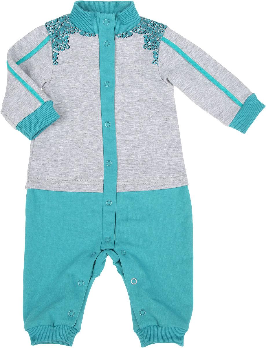 Комбинезон для девочки. 22-52522-525Удобный комбинезон для девочки Ёмаё изготовлен из двухниточного футера с эластаном, что обеспечивает ребенку комфорт и тепло. Он мягкий, тактильно приятный, не раздражает нежную и чувствительную кожу ребенка, хорошо пропускает воздух. Модель с воротником-стойкой, длинными рукавами и открытыми ножками имеет застежки-кнопки от горловины до щиколоток, которые помогают легко переодеть младенца или сменить подгузник. Воротник, манжеты рукавов и брючин выполнены из мягкой трикотажной резинки. По бокам рукава декорированы бархатным кантом. Изделие украшено на плечах принтом в виде кружева. Оригинальный комбинезон с имитацией комплекта кофточки и штанишек станет отличным дополнением к детскому гардеробу.