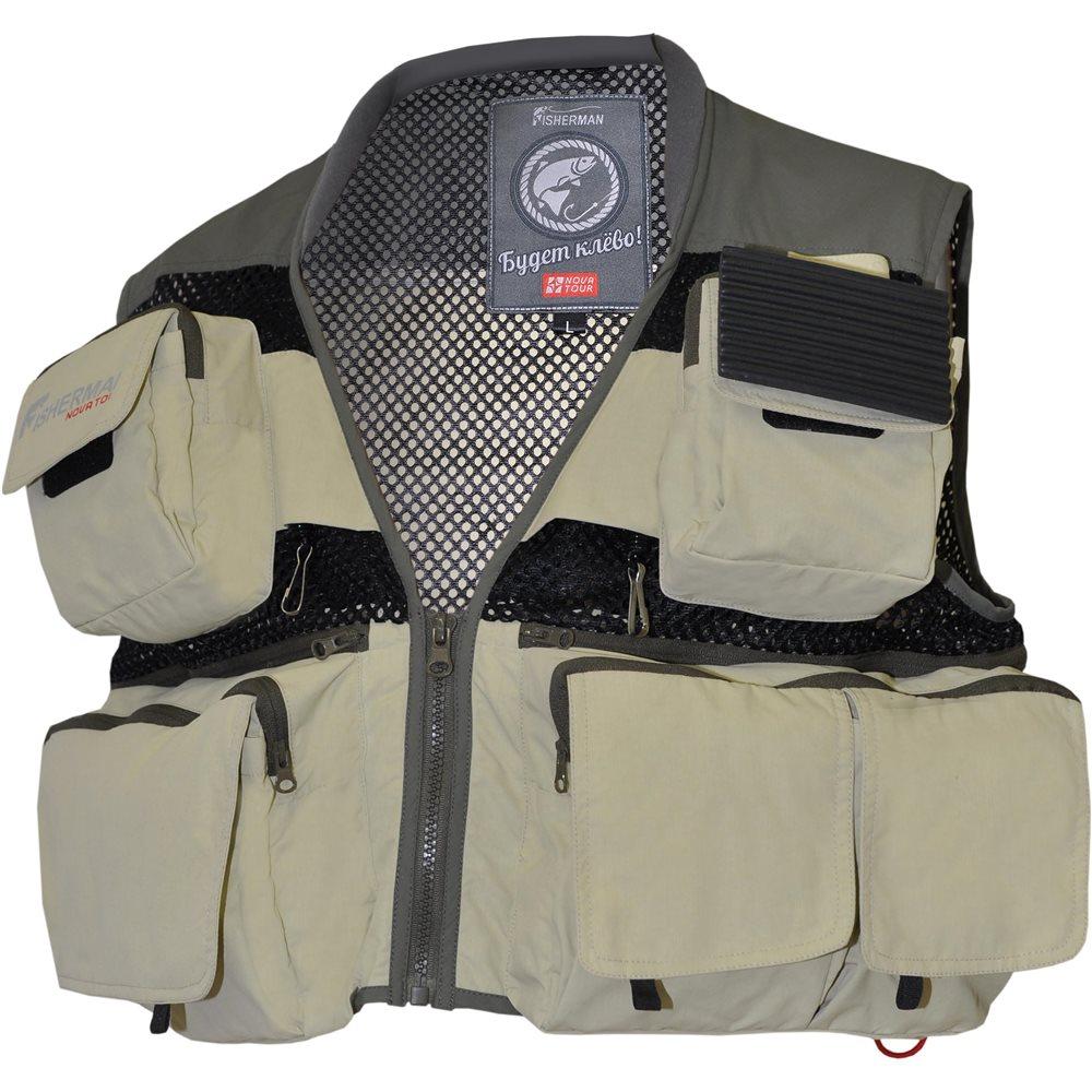 Жилет для рыбалки и охоты95733-530Профессиональный облегченный жилет для активной рыбалки. Карманы на груди. Ретриверы. Подушка для приманок. Заднее отделение - рюкзак. Крепление спиннинга. Грузовые карманы. Грудная стяжка.