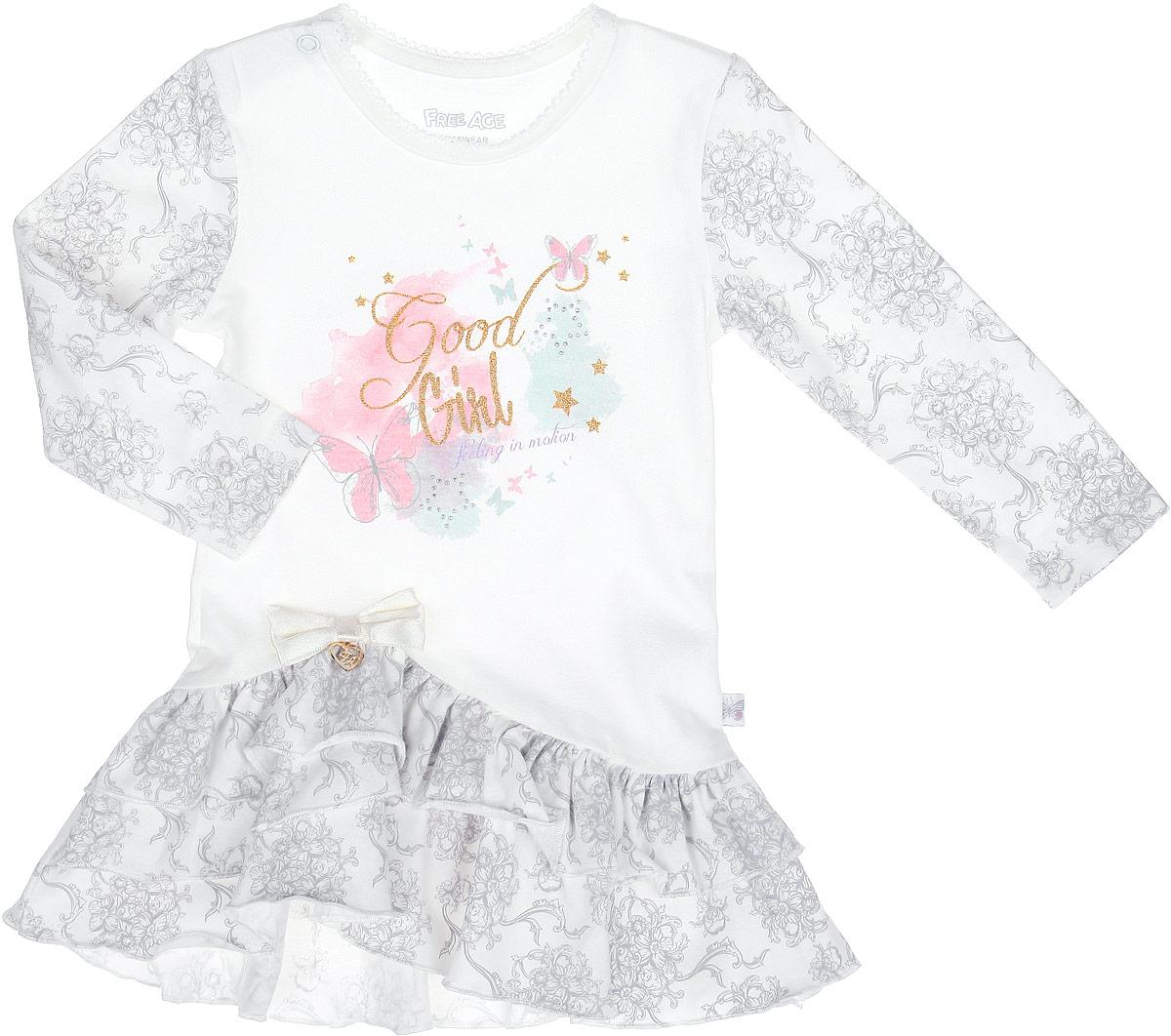 Платье для девочки. ZBG 14113-VZBG 14113-VПлатье для девочки Free Age отлично подойдет вашей маленькой моднице. Выполненное из натурального хлопка, оно мягкое и приятное на ощупь, не сковывает движения и позволяет коже дышать, обеспечивая наибольший комфорт. Платье с круглым вырезом горловины и длинными рукавами имеет застежку-кнопку по плечевому шву, что помогает при переодевании ребенка. Вырез горловины украшен ажурными петельками. По низу платье дополнено воздушными оборками. Изделие оформлено принтом и надписями, декорированными блестящим напылением и переливающимися стразами. Также платье украшено атласным бантом с металлической подвеской. В таком платье маленькой принцессе будет комфортно и она всегда будет в центре внимания!
