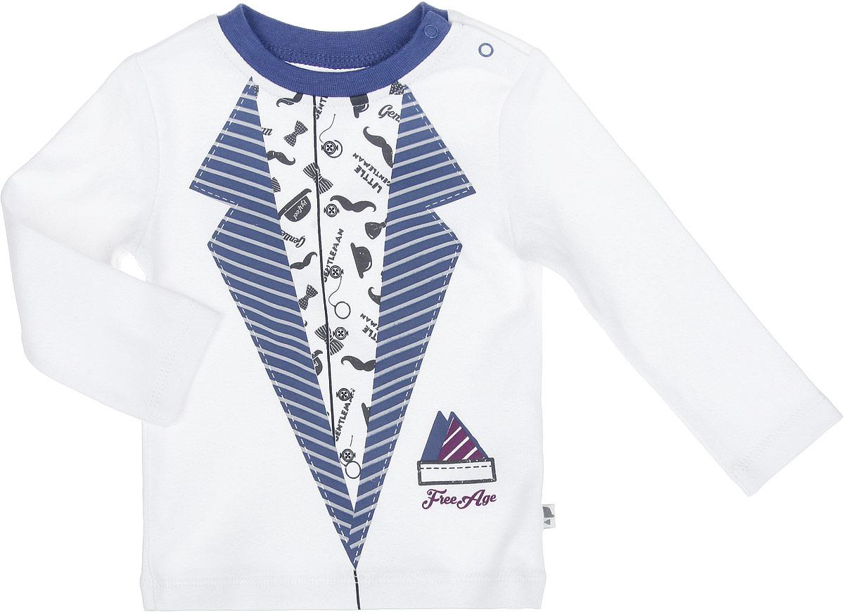 ФутболкаZBB 03199-W0Стильная футболка для мальчика Free Age идеально подойдет вашему маленькому моднику. Изготовленная из натурального хлопка, она мягкая и приятная на ощупь, не сковывает движения и позволяет коже дышать, не раздражает даже самую нежную и чувствительную кожу ребенка, обеспечивая ему наибольший комфорт. Футболка с длинными рукавами и круглым вырезом горловины, застегивается на застежку-кнопку по плечевому шву. Спереди модель оформлена оригинальной термоаппликацией, имитирующей пиджак. Вырез горловины дополнен трикотажной эластичной резинкой. В такой футболке вашему ребенку будет удобно и комфортно.