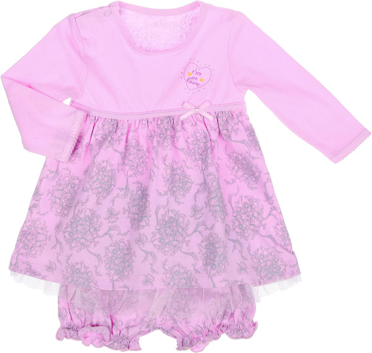 Комплект для девочки: платье, шортики. ZBG 25320-PZBG 25320-PКрасивый комплект для девочки Free Age, состоящий из платья и шортиков, станет отличным дополнением к детскому гардеробу. Комплект выполнен из натурального хлопка, он мягкий и приятный на ощупь, не сковывает движения и позволяет коже дышать, не раздражает даже самую нежную и чувствительную кожу, обеспечивая наибольший комфорт. Платье с длинными рукавами и круглым вырезом горловины имеет застежку-кнопку по плечевому шву, что позволяет с легкостью переодеть малышку. От слегка завышенной линии талии заложены небольшие складочки, придающие изделию объем. Оформлено платье нежным цветочным орнаментом, а также рисунком с изображением сердечка. Изделие украшено атласным бантиком и мелкими стразами. Низ модели дополнен оборкой из микросетки. Шортики на поясе имеют мягкую резинку, благодаря чему они не сдавливают животик ребенка и не сползают. Снизу модель присборена на тонкие эластичные резинки. Оформлены шорты нежным цветочным орнаментом и атласным бантиком на поясе. Такой...