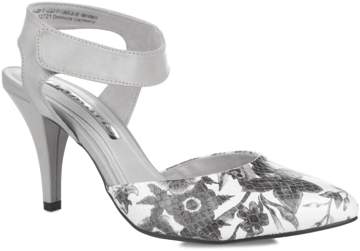 1-1-29605-26-292Стильные туфли от Tamaris внесут изысканные нотки в ваш модный образ. Модель выполнена из искусственной кожи и оформлена в передней части лазерной обработкой и цветочным принтом. Ремешок на застежке-липучке с дополнительной поддержкой пяточной части отвечают за надежную фиксацию модели на ноге. Заостренный вытянутый носок и высокий каблук смотрятся невероятно женственно. Текстильная подкладка предотвратит натирание. Стелька из искусственной кожи гарантирует комфорт при ходьбе. Подошва с рифлением обеспечивает идеальное сцепление с любыми поверхностями. Роскошные туфли подчеркнут ваш отменный вкус!