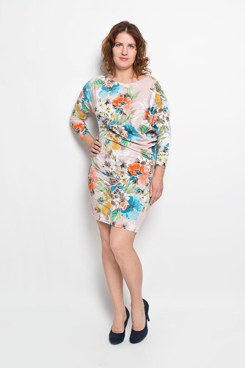 20216-2Платье Milana Style идеально подойдет для вас и станет стильным дополнением к вашему гардеробу. Выполненное из мягкого гладкого материала, оно очень приятное на ощупь, не сковывает движений и хорошо вентилируется. Модель с вырезом горловины лодочка и рукавами-летучая мышь длиной 3/4 оформлена цветочным принтом. За счёт асимметричности рукавов платье в области талии изящно драпируется, что позволяет подчеркнуть достоинства фигуры. Такое платье поможет создать яркий и привлекательный образ, который не оставит вас незамеченной.