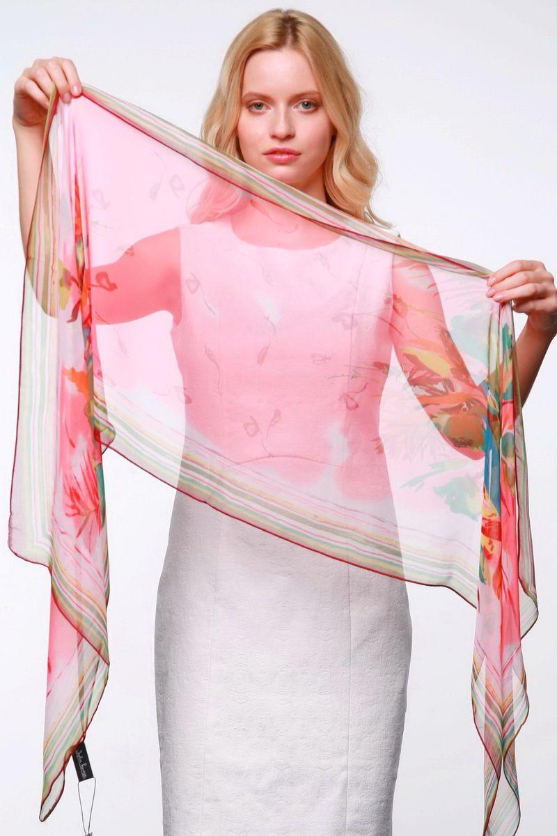 Шарф женский. YY-11561YY-11561-10Элегантный шарф Sophie Ramage изготовлен из натурального шелка, позволит вам создать неповторимый и запоминающийся образ. Легкий и полупрозрачный шарф оформлен оригинальным цветочным принтом, дополненным по краям яркими полосками. Шарф красиво драпируется, он превосходно дополнит любой наряд и подчеркнет ваш изысканный вкус. Модный и изящный шарф Sophie Ramage привнесет в ваш образ утонченность и шарм.