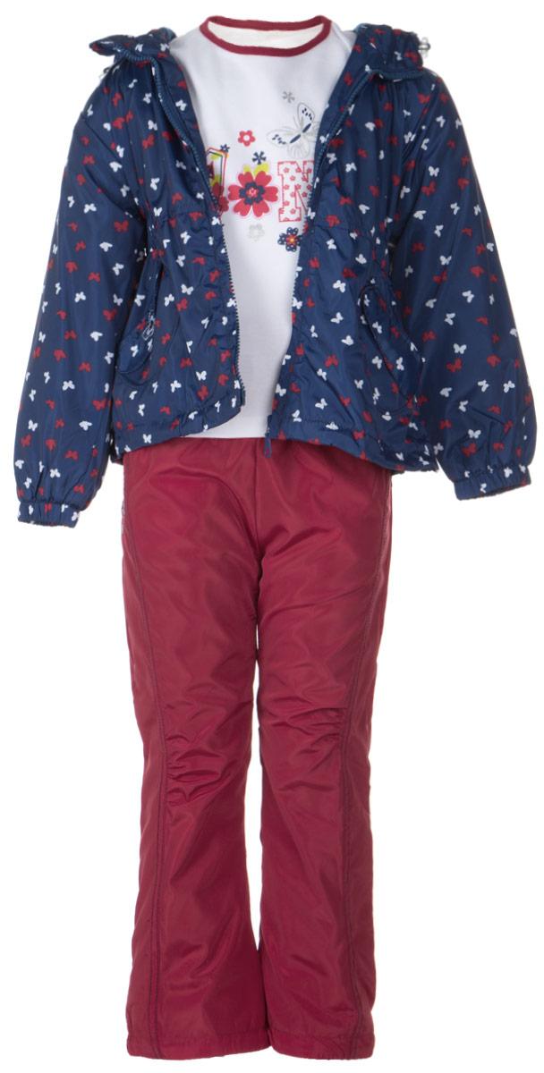 104575RD-9Комплект для девочки M&D, состоящий из футболки с длинным рукавом, куртки и брюк, идеально подойдет для вашего ребенка в прохладное время года. Куртка изготовлена из 100% полиэстера с подкладкой из мягкого флиса. Модель с несъемным капюшоном и длинными рукавами застегивается на пластиковую застежку-молнию с защитой подбородка. Низ рукавов присборен на резинки. Линия талии на спинке также дополнена резинкой. Предусмотрена утяжка в виде резинок со стопперами: на капюшоне и внутри изделия понизу. Спереди имеются два накладных кармана с декоративными клапанами, один из которых украшен вышивкой. Оформлена куртка мелким принтом в виде бабочек. Брюки выполнены из 100% полиэстера с подкладкой из натурального хлопка. Модель на талии имеет широкую резинку, благодаря чему брюки не сдавливают живот ребенка и не сползают. По бокам модель дополнена двумя втачными кармашками со скошенными краями, а сзади - накладным карманом. Понизу брючин предусмотрена утяжка в виде резинок со...