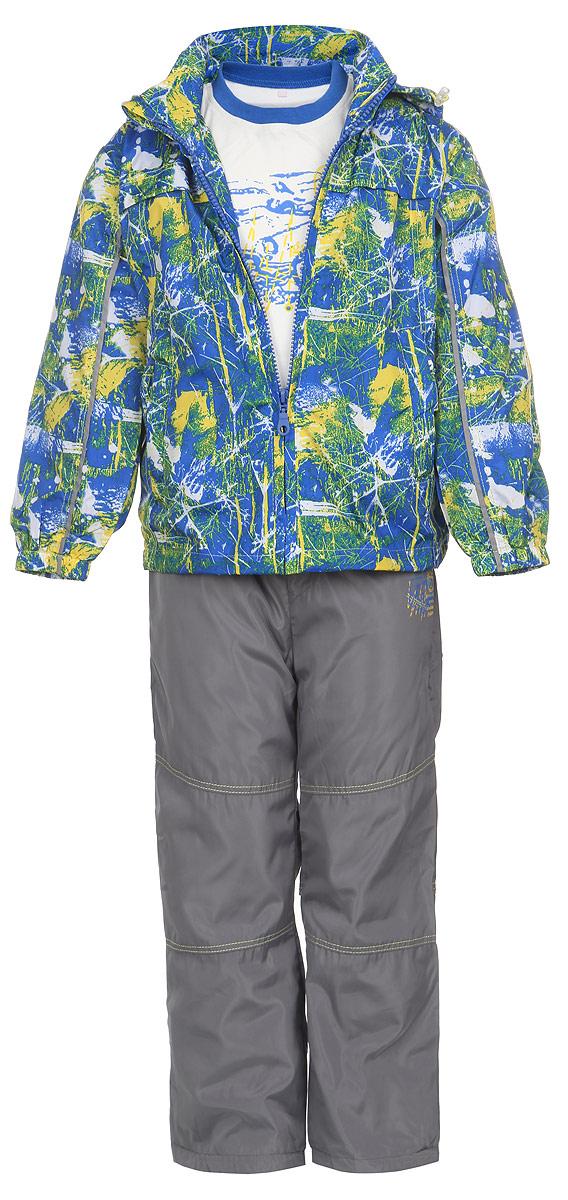 Комплект верхней одежды104678D-28Комплект для мальчика M&D, состоящий из футболки с длинным рукавом, ветровки и брюк, идеально подойдет для вашего ребенка в прохладное время года. Ветровка изготовлена из 100% полиэстера с подкладкой из натурального хлопка. Модель с воротником-стойкой, съемным капюшоном на молнии и длинными рукавами застегивается на пластиковую застежку-молнию с защитой подбородка. Низ рукавов присборен на резинки. Предусмотрена утяжка в виде резинок со стопперами: на капюшоне и внутри изделия понизу. Спереди имеются два прорезных кармана на застежках-молниях. Оформлена ветровка оригинальным принтом. Брюки выполнены из 100% полиэстера с подкладкой из натурального хлопка. Модель на талии имеет широкую резинку, благодаря чему брюки не сдавливают живот ребенка и не сползают. По бокам модель дополнена двумя втачными кармашками со скошенными краями. Понизу брючин предусмотрена утяжка в виде резинок со стопперами. Оформлено изделие контрастной прострочкой и оригинальной термоаппликацией. ...