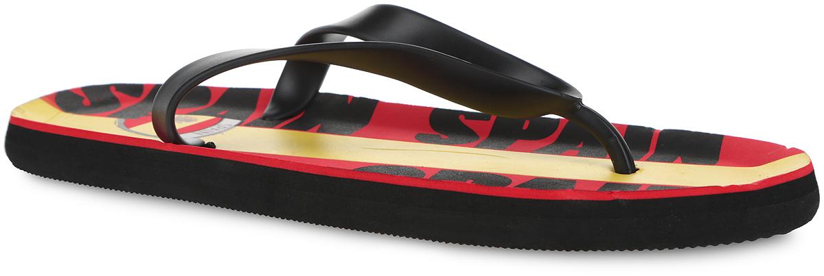 3_SPAIN_REDСтильные и очень легкие сланцы от Mon Ami Spain придутся вам по душе. Верх модели выполнен из ПВХ и оформлен на ремешке декоративным элементом в виде флага Испании. Ремешки с перемычкой гарантируют надежную фиксацию изделия на ноге. Верхняя часть подошвы, изготовленная из ЭВА материала, декорирована оригинальным принтом. Материал ЭВА имеет пористую структуру, обладает великолепными теплоизоляционными и морозостойкими свойствами, 100% водонепроницаемостью, придает обуви амортизационные свойства, мягкость при ходьбе, устойчивость к истиранию подошвы. Рельефное основание подошвы обеспечивает уверенное сцепление с любой поверхностью. Удобные сланцы прекрасно подойдут для похода в бассейн или на пляж.