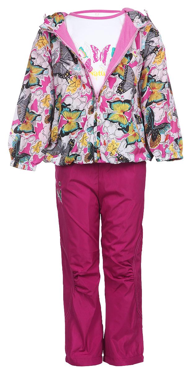 Комплект верхней одежды104395D-6Комплект для девочки M&D, состоящий из футболки с длинным рукавом, ветровки и брюк, идеально подойдет для вашего ребенка в прохладное время года. Ветровка изготовлена из 100% полиэстера с подкладкой из натурального хлопка. Модель с несъемным капюшоном и длинными рукавами застегивается на пластиковую застежку-молнию с защитой подбородка. На капюшоне предусмотрена утяжка в виде резинки со стопперами. Низ рукавов присборен на резинки. Линия талии на спинке также дополнена резинкой. Спереди имеются два прорезных кармана на застежках-молниях. Оформлена ветровка красочным принтом в виде бабочек и цветов. Брюки выполнены из 100% полиэстера с подкладкой из натурального хлопка. Модель на талии имеет широкую резинку, благодаря чему брюки не сдавливают живот ребенка и не сползают. По бокам модель дополнена двумя втачными кармашками со скошенными краями. Понизу брючин предусмотрена утяжка в виде резинок со стопперами. Оформлено изделие нашивкой в виде бабочки и вышитыми цветочками. ...