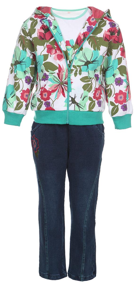 Комплект верхней одежды103708-28Комплект для девочки M&D, состоящий из футболки с длинным рукавом, толстовки и брюк, идеально подойдет вашей малышке для игр на свежем воздухе и дома. Толстовка с капюшоном и длинными рукавами изготовлена из 100% хлопка. Модель застегивается на пластиковую застежку-молнию с защитой подбородка. Манжеты рукавов и низ толстовки дополнены трикотажными резинками. На талии куртка дополнена эластичной резинкой. Спереди имеются два накладных открытых кармана. Толстовка оформлена красочным цветочным принтом. Брюки выполнены из 100% хлопка и стилизованы под джинсы. Модель на талии имеет широкую резинку, благодаря чему брюки не сдавливают живот ребенка и не сползают. По бокам модель дополнена двумя втачными кармашками со скошенными краями. Изделие украшено вышивкой в виде цветка и декоративной контрастной отстрочкой. Футболка с длинным рукавом изготовлена из натурального хлопка. Модель с круглым вырезом горловины оформлена на груди крупным принтом с изображением цветов....