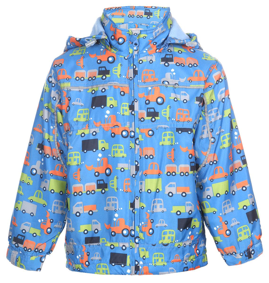 Куртка111525R-13Яркая куртка для мальчика M&D идеально подойдет для ребенка в прохладное время года. Она выполнена из полиэстера и дополнена мягкой и теплой флисовой подкладкой. Куртка с воротником-стойкой застегивается на удобную застежку-молнию. Съемный капюшон фиксируется при помощи молнии, его объем регулируется при помощи эластичного шнурка со стопперами. Рукава оснащены широкими эластичными резинками, не стягивающими запястья, и хлястиками на липучках. Низ модели дополнен скрытым эластичным шнурком со стопперами. По бокам курточка дополнена двумя втачными кармашками на застежках-молниях. Изделие оформлено красочным принтом с изображением автомобилей и дополнена светоотражающими полосками. В такой куртке ваш маленький мужчина будет чувствовать себя комфортно, уютно и всегда будет в центре внимания!