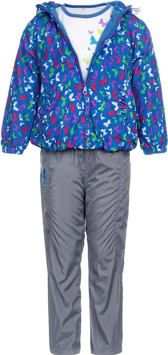3397RD-9Комплект для девочки M&D, состоящий из футболки с длинным рукавом, куртки и брюк, идеально подойдет для вашего ребенка в прохладное время года. Куртка изготовлена из 100% полиэстера с мягкой подкладкой. Модель с несъемным капюшоном застегивается на пластиковую застежку-молнию с защитой подбородка. На капюшоне предусмотрена утяжка в виде резинки со стопперами. Низ рукавов присборен на резинки. Линия талии на спинке также дополнена резинкой. Спереди имеются два прорезных кармана, украшенных оборками. Оформлена куртка принтом в виде бабочек. Брюки выполнены из 100% полиэстера с подкладкой из натурального хлопка. Модель на талии имеет широкую резинку, благодаря чему брюки не сдавливают живот ребенка и не сползают. По бокам модель дополнена двумя втачными кармашками со скошенными краями. Понизу брючин предусмотрена утяжка в виде резинок со стопперами. Футболка с длинным рукавом изготовлена из натурального хлопка. Модель с круглым вырезом горловины...