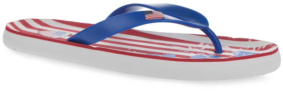 3_USA_BLUEСтильные и очень легкие сланцы от Mon Ami USA придутся вам по душе. Верх модели выполнен из ПВХ и оформлен на ремешке декоративным элементом в виде флага Соединенных Штатов Америки. Ремешки с перемычкой гарантируют надежную фиксацию изделия на ноге. Верхняя часть подошвы, изготовленная из ЭВА материала, декорирована оригинальным принтом. Материал ЭВА имеет пористую структуру, обладает великолепными теплоизоляционными и морозостойкими свойствами, 100% водонепроницаемостью, придает обуви амортизационные свойства, мягкость при ходьбе, устойчивость к истиранию подошвы. Рельефное основание подошвы обеспечивает уверенное сцепление с любой поверхностью. Удобные сланцы прекрасно подойдут для похода в бассейн или на пляж.