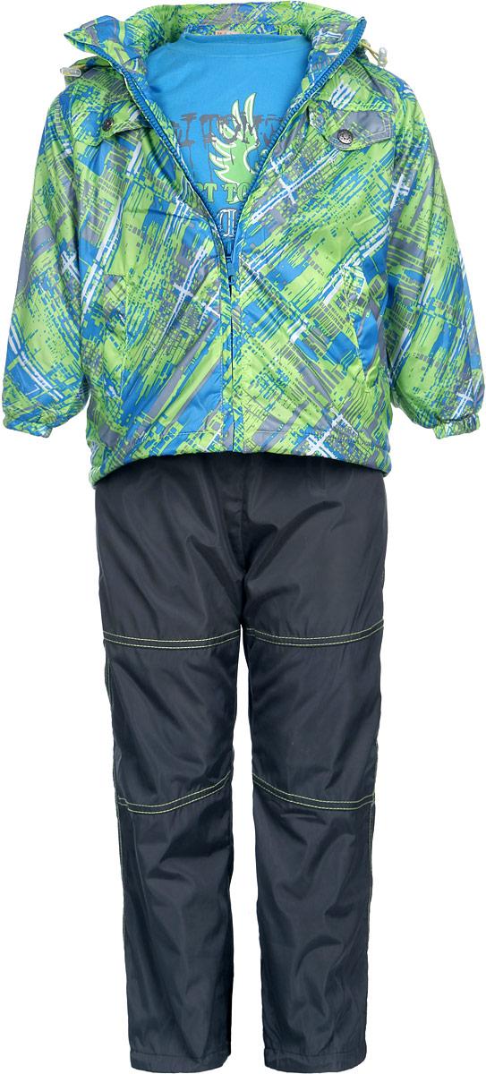 Комплект верхней одежды111606RD-10Комплект для мальчика M&D, состоящий из футболки с длинным рукавом, куртки и брюк, идеально подойдет для вашего ребенка в прохладное время года. Куртка изготовлена из 100% полиэстера с подкладкой из мягкого флиса. Модель с воротником-стойкой, съемным капюшоном на молнии и длинными рукавами застегивается на пластиковую застежку-молнию с защитой подбородка. Низ рукавов присборен на резинки. Предусмотрена утяжка в виде резинок со стопперами: на капюшоне и внутри изделия понизу. Спереди имеются два прорезных кармана и две имитации карманов, представленных в виде клапанов с декоративными кнопками. Оформлена куртка оригинальным принтом. Брюки выполнены из 100% полиэстера с подкладкой из натурального хлопка. Модель на талии имеет широкую резинку, благодаря чему брюки не сдавливают живот ребенка и не сползают. По бокам модель дополнена двумя втачными кармашками со скошенными краями. Понизу брючин предусмотрена утяжка в виде резинок со стопперами. Оформлено изделие контрастной...
