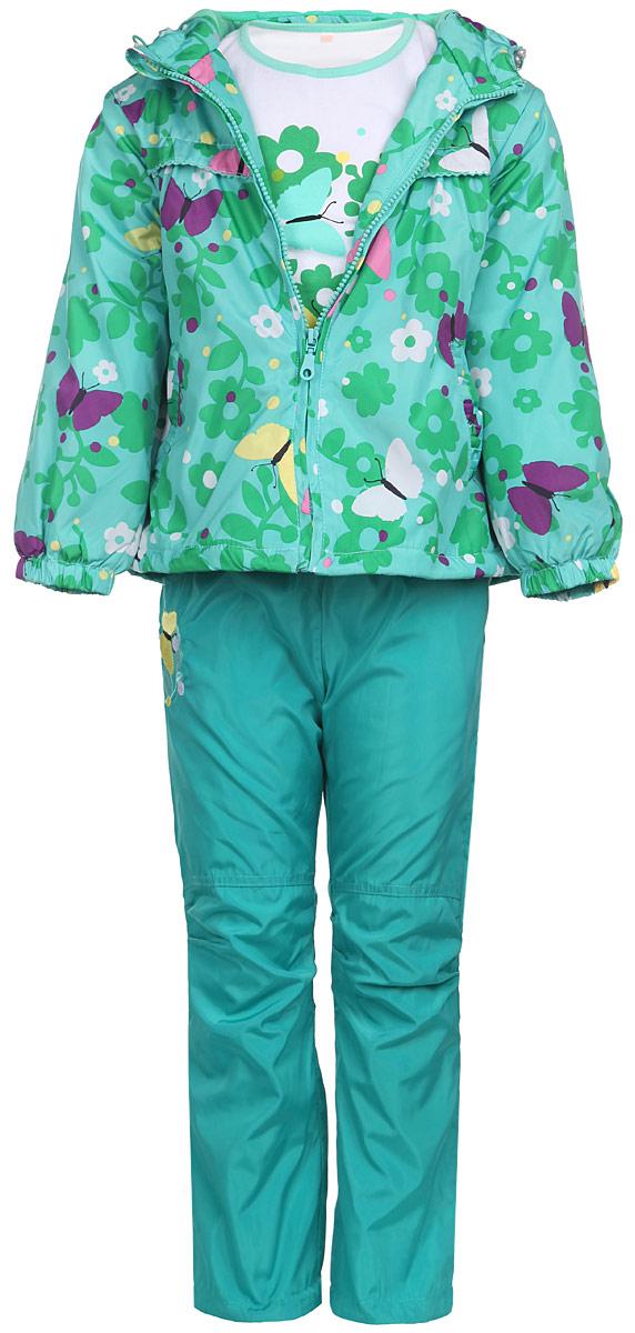 106515RD-28Комплект для девочки M&D, состоящий из футболки с длинным рукавом, куртки и брюк, идеально подойдет для вашего ребенка в прохладное время года. Куртка изготовлена из 100% полиэстера с подкладкой из мягкого флиса. Модель с несъемным капюшоном и длинными рукавами застегивается на пластиковую застежку-молнию с защитой подбородка. На капюшоне предусмотрена утяжка в виде резинки со стопперами. Линия талии на спинке также дополнена резинкой. Предусмотрена утяжка в виде резинок со стопперами: на капюшоне и внутри изделия понизу. Спереди имеются два прорезных кармана, украшенных оборками. Оформлена куртка принтом в виде цветов и бабочек. Брюки выполнены из 100% полиэстера с подкладкой из натурального хлопка. Модель на талии имеет широкую резинку, благодаря чему брюки не сдавливают живот ребенка и не сползают. По бокам модель дополнена двумя втачными кармашками со скошенными краями, а сзади - накладным карманом. Понизу брючин предусмотрена утяжка в виде резинок со стопперами....
