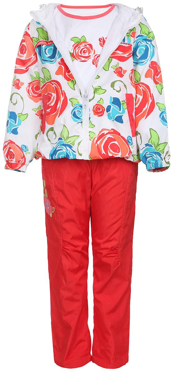 Комплект для девочки: футболка с длинным рукавом, ветровка, брюки. 3255D-43255D-4Комплект для девочки M&D, состоящий из футболки с длинным рукавом, ветровки и брюк, идеально подойдет для вашего ребенка в прохладное время года. Ветровка изготовлена из 100% полиэстера с подкладкой из натурального хлопка. Модель с несъемным капюшоном и длинными рукавами застегивается на пластиковую застежку-молнию с защитой подбородка. На капюшоне предусмотрена утяжка в виде резинки со стопперами. Низ рукавов присборен на резинки. Линия талии на спинке также дополнена резинкой. Спереди имеются два прорезных кармана. Оформлена ветровка красочным принтом в виде крупных роз. Брюки выполнены из 100% полиэстера с подкладкой из натурального хлопка. Модель на талии имеет широкую резинку, благодаря чему брюки не сдавливают живот ребенка и не сползают. По бокам модель дополнена двумя втачными кармашками со скошенными краями. Понизу брючин предусмотрена утяжка в виде резинок со стопперами. Оформлено изделие декоративной нашивкой в виде цветочка и вышитыми листиками. Футболка...