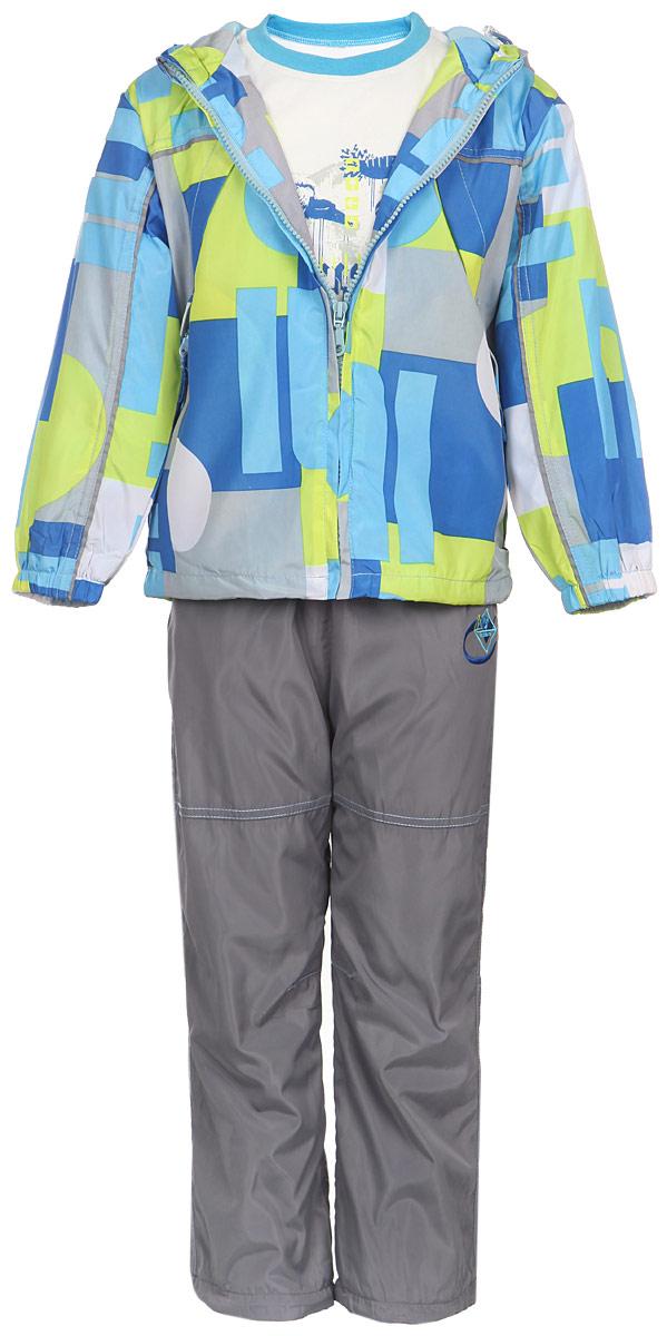 Комплект верхней одежды111618D-20Комплект для мальчика M&D, состоящий из футболки с длинным рукавом, ветровки и брюк, идеально подойдет для вашего ребенка в прохладное время года. Ветровка изготовлена из 100% полиэстера с подкладкой из натурального хлопка. Модель с несъемным капюшоном застегивается на пластиковую застежку-молнию с защитой подбородка. Низ рукавов присборен на резинки. Предусмотрена утяжка в виде резинок со стопперами: на капюшоне и внутри изделия понизу. Спереди имеются два прорезных кармана на застежках-молниях. Оформлена ветровка геометрическим принтом. Брюки выполнены из 100% полиэстера с подкладкой из натурального хлопка. Модель на талии имеет широкую резинку, благодаря чему брюки не сдавливают живот ребенка и не сползают. По бокам модель дополнена двумя втачными кармашками со скошенными краями. Понизу брючин предусмотрена утяжка в виде резинок со стопперами. Оформлено изделие оригинальной вышивкой. Светоотражающие элементы на ветровке и брюках не оставят вашего ребенка...