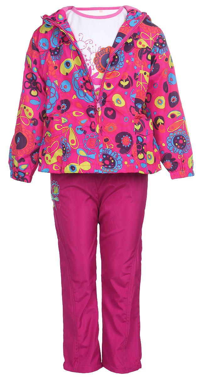 Комплект верхней одежды104571D-6Красивый комплект для девочки M&D, состоящий из ветровки, брюк и лонгслива, идеально подойдет для вашего ребенка в прохладную погоду. Ветровка изготовлена из полиэстера на хлопковой подкладке. Модель с несъемным капюшоном застегивается на пластиковую молнию с защитой подбородка. Капюшон по краю дополнен затягивающимся шнурком со стопперами. Низ рукавов присборен на резинки. Линия талии по спинке собрана на широкую резинку. Спереди расположены два накладных кармана. Оформлена ветровка ярким цветочным принтом. Брюки выполнены из полиэстера с подкладкой из натурального хлопка. Модель прямого кроя на талии имеет широкую резинку, благодаря чему брюки не сдавливают животик ребенка и не сползают. По бокам расположены два втачных кармана. По низу брючин предусмотрена утяжка в виде резинок со стопперами. Изделие украшено цветочной вышивкой. Лонгслив изготовлен из натурального хлопка. Модель с круглым вырезом горловины оформлена на груди цветочным принтом и...