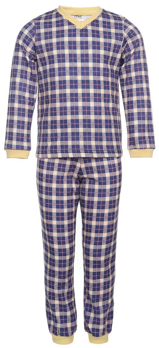 Пижама для мальчика. 18-30118-301Мягкая пижама для мальчика Ёмаё, состоящая из футболки с длинным рукавом и брюк, идеально подойдет ребенку для отдыха и сна. Модель выполнена из футерной ткани с начесом, очень приятная к телу, не сковывает движения, хорошо пропускает воздух. Футболка с длинными рукавами имеет V-образный вырез горловины, дополненный трикотажной резинкой. На рукавах предусмотрены мягкие эластичные манжеты. Брюки на талии имеют широкую эластичную резинку, благодаря чему они не сдавливают животик ребенка и не сползают. Брючины дополнены манжетами. Изделие оформлено принтом в клетку. В такой пижаме ребенок будет чувствовать себя комфортно и уютно!