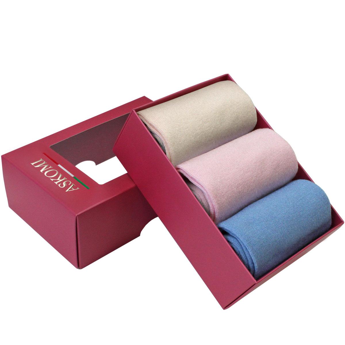 НоскиAGN-8100Стильный подарочный набор Askomi Classic включает 3 пары носков классических цветов. Носки выполнены из бамбука с добавлением полиамида и лайкры.